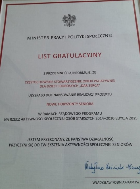 List gratulacyjny DAr Serca